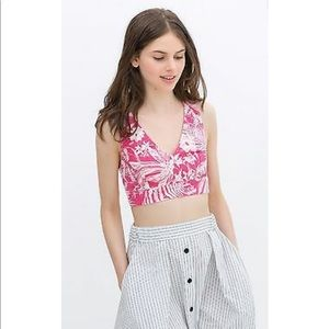 Zara Pink White Floral Crop Top S Denim TROPICAL
